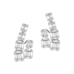 Gorgeous 18 Karat White Gold Unusual, Hanging Earrings with over 100 Diamonds