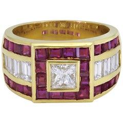 Gorgeous 18 Karat Yellow Gold 1.20 Carat Center Diamond with Rubies Dome Ring