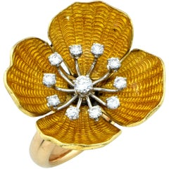 Gorgeous 18 Karat Yellow Gold Enamel and Diamond Flower Ring