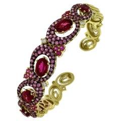 Gorgeous 18 Karat Yellow Gold, Pink Sapphire, Rubellite, and Diamond Bracelet
