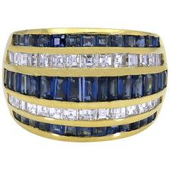 Gorgeous 18 Karat Yellow Gold Sapphires and Diamonds Dome Ring