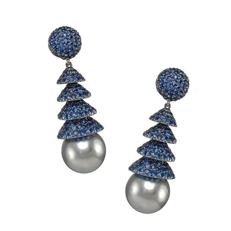 Round Cut Gorgeous 18 Karat White Gold Sapphire Pearl Earrings For Sale