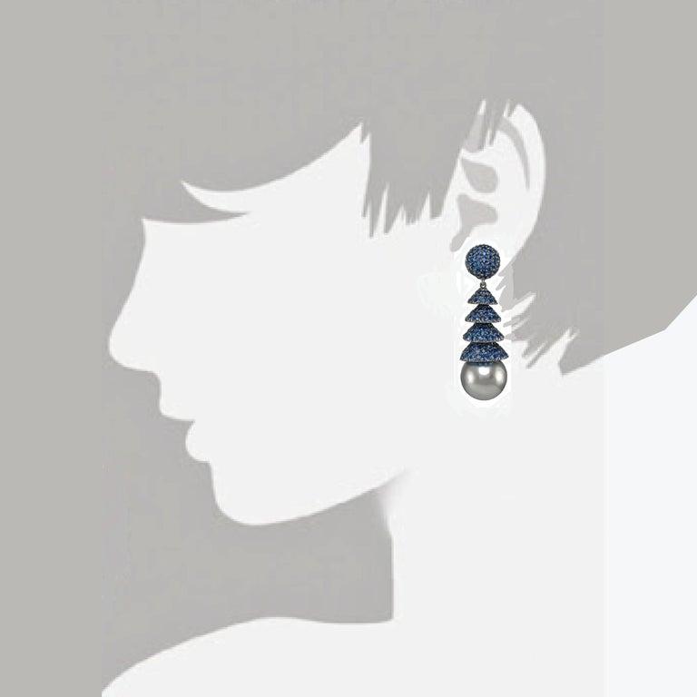 Women's Gorgeous 18 Karat White Gold Sapphire Pearl Earrings For Sale