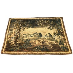 Gorgeous 18th Century French Aubusson Tapestry of Dogs Hunting A Stag