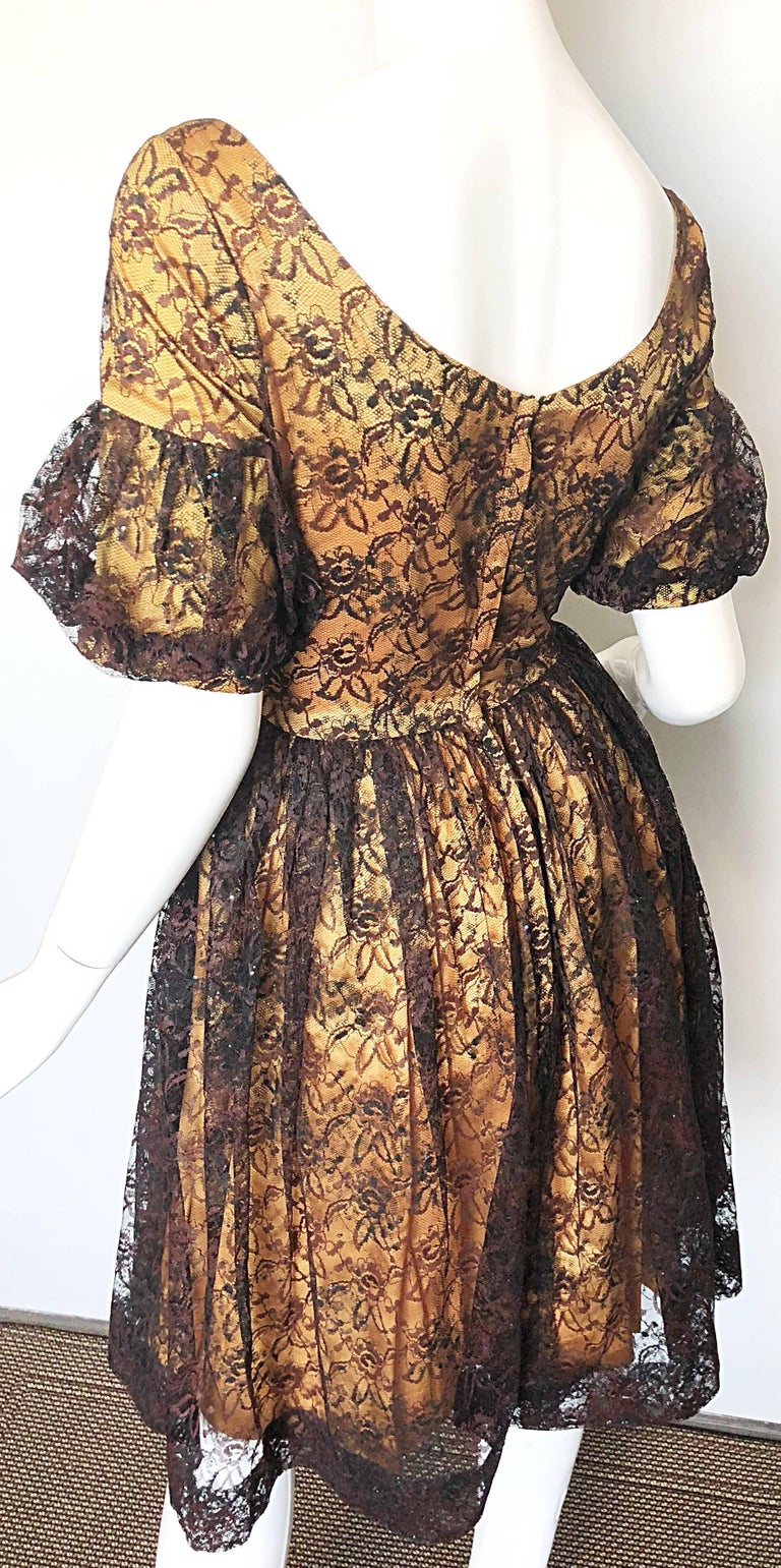 Gorgeous 1950s Black + Gold Silk Lace Fit and Flare Glitter Vintage 50s Dress For Sale 5