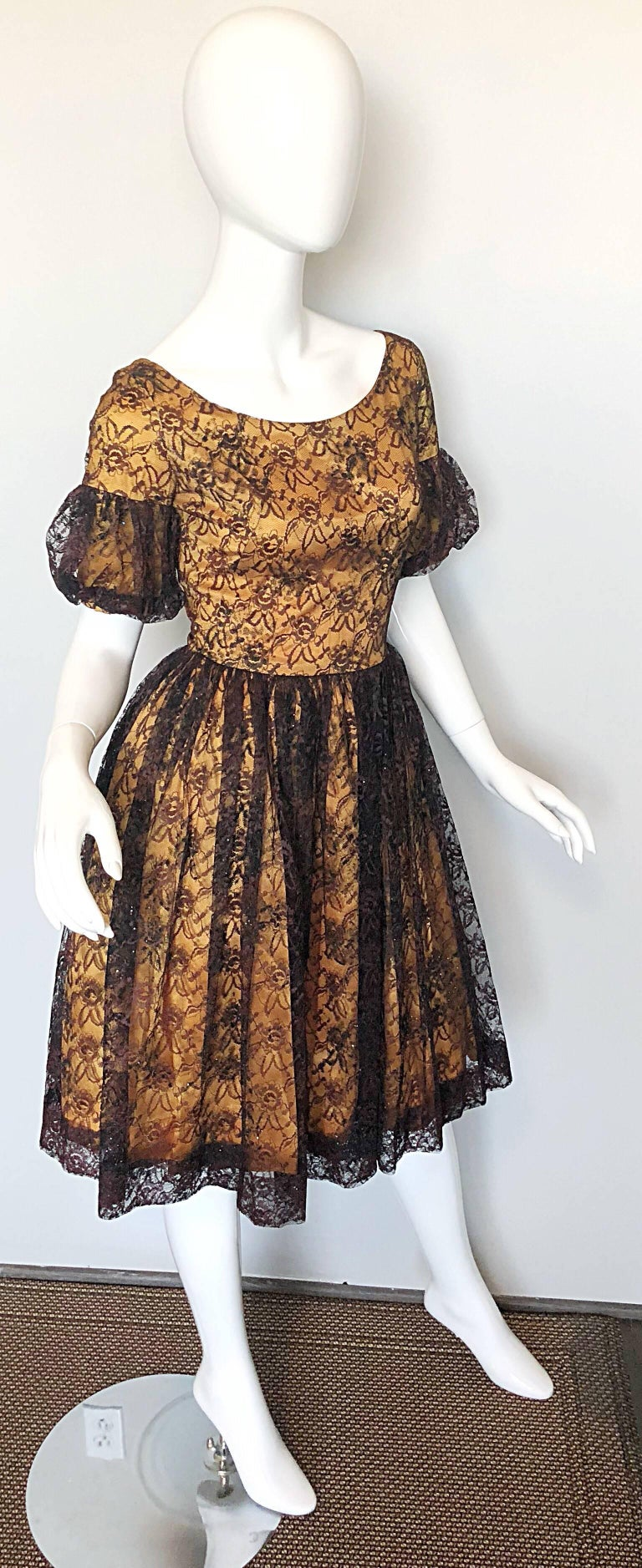 Gorgeous 1950s Black Gold Silk Lace Fit And Flare