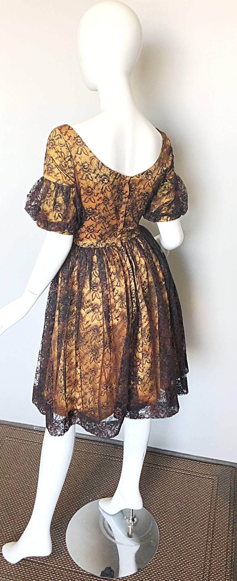 Women's Gorgeous 1950s Black + Gold Silk Lace Fit and Flare Glitter Vintage 50s Dress For Sale