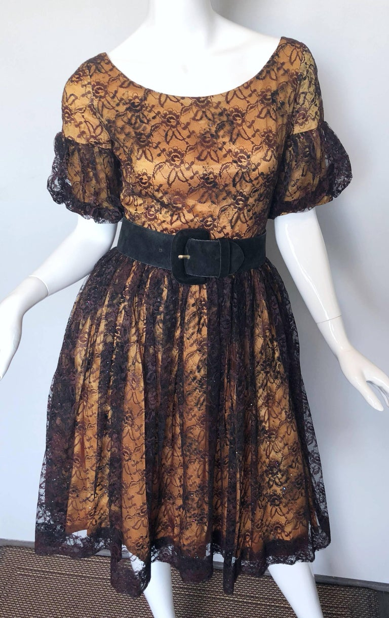 Gorgeous 1950s Black + Gold Silk Lace Fit and Flare Glitter Vintage 50s Dress For Sale 1