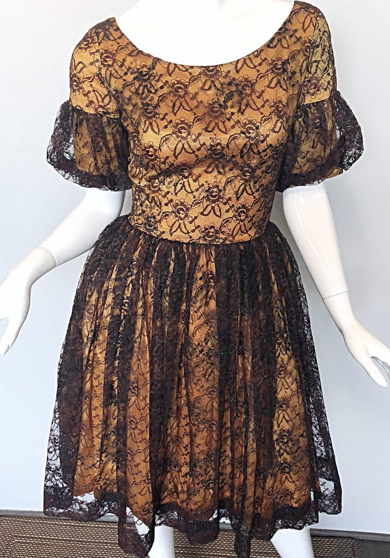 Gorgeous 1950s Black + Gold Silk Lace Fit and Flare Glitter Vintage 50s Dress For Sale 2