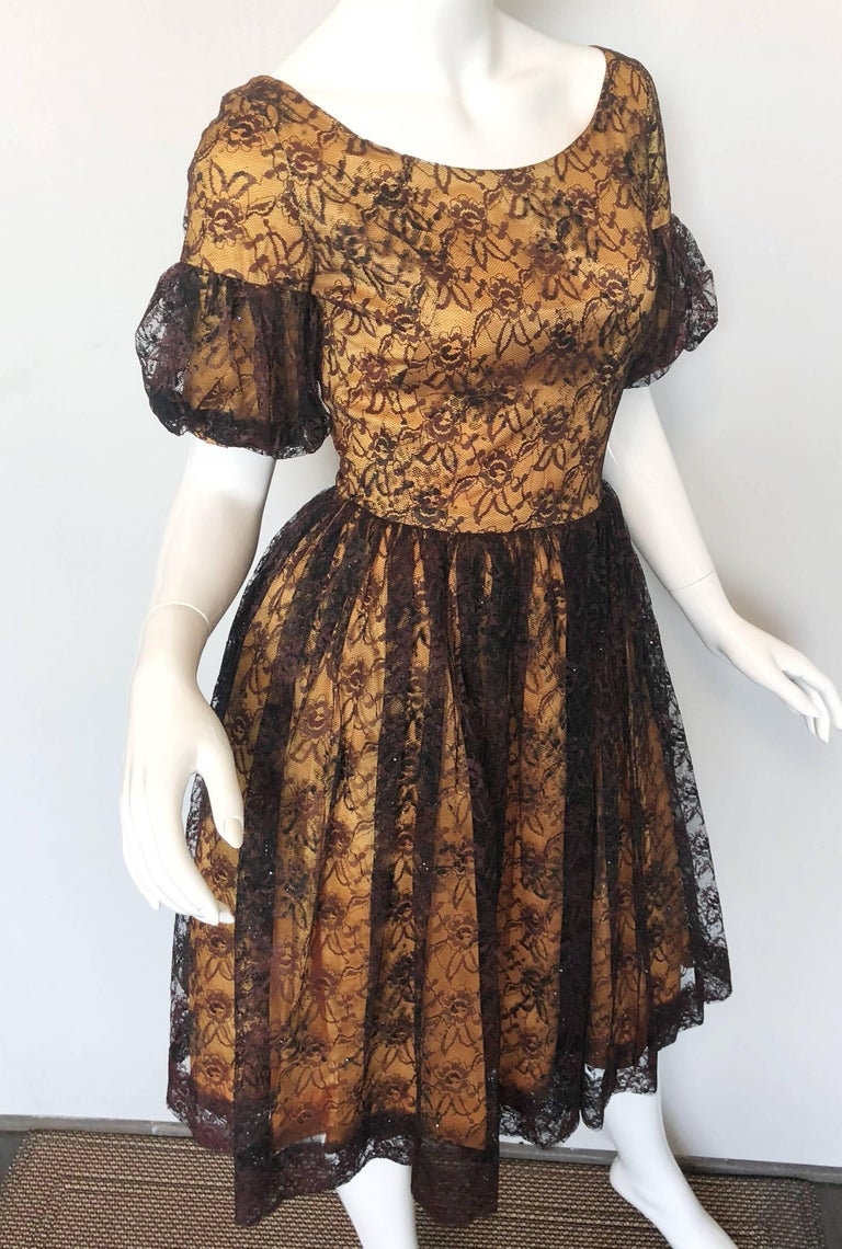 Gorgeous 1950s Black + Gold Silk Lace Fit and Flare Glitter Vintage 50s Dress For Sale 3