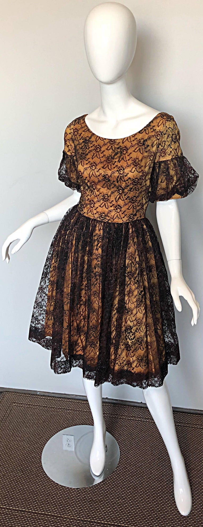 Gorgeous 1950s Black + Gold Silk Lace Fit and Flare Glitter Vintage 50s Dress For Sale 4