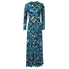 Gorgeous 1960s Emilio Pucci Blue Lattice Print Silk Jersey Maxi Dress