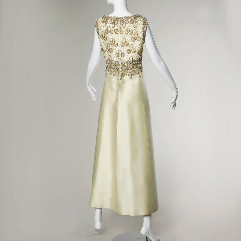 Beige Gorgeous 1960s Heavily Embellished Beaded Silk Shantung Evening Gown or Dress For Sale