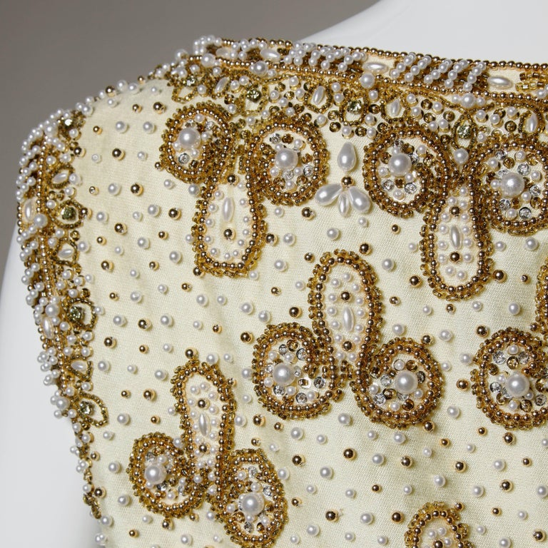 Women's Gorgeous 1960s Heavily Embellished Beaded Silk Shantung Evening Gown or Dress For Sale
