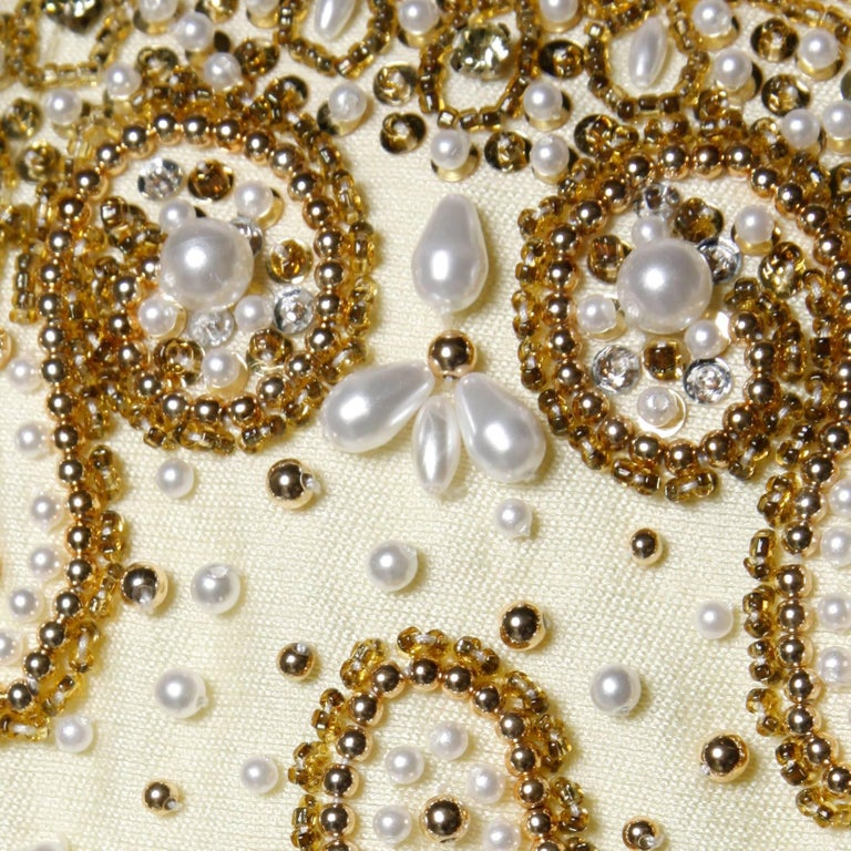 Gorgeous 1960s Heavily Embellished Beaded Silk Shantung Evening Gown or Dress For Sale 1