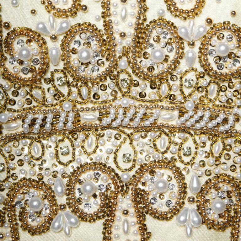 Gorgeous 1960s Heavily Embellished Beaded Silk Shantung Evening Gown or Dress For Sale 2