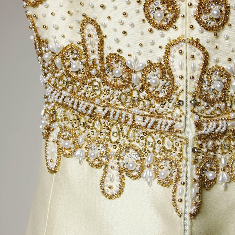 Gorgeous 1960s Heavily Embellished Beaded Silk Shantung Evening Gown or Dress For Sale 3