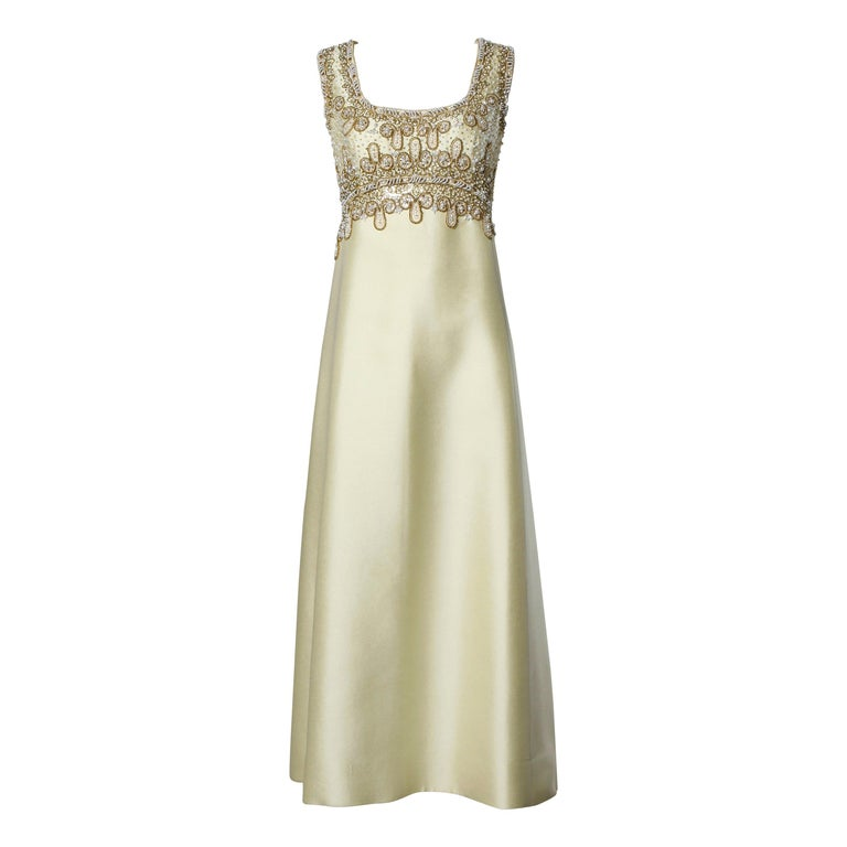 Gorgeous 1960s Heavily Embellished Beaded Silk Shantung Evening Gown or Dress For Sale