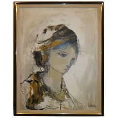 Gorgeous 1977 Gino Hollander Figural Expressionist Abstract Painting Midcentury