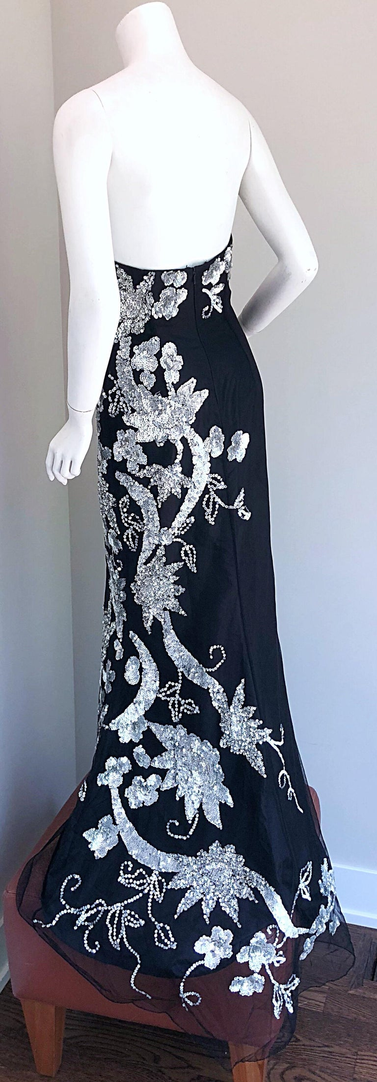 Gorgeous 1990s Black and Silver Sequined Dramatic Strapless Vintage 90s Gown  6