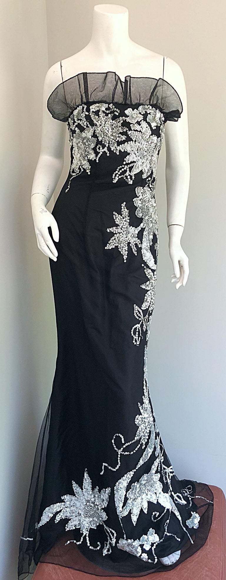 Gorgeous 1990s Black and Silver Sequined Dramatic Strapless Vintage 90s Gown  7