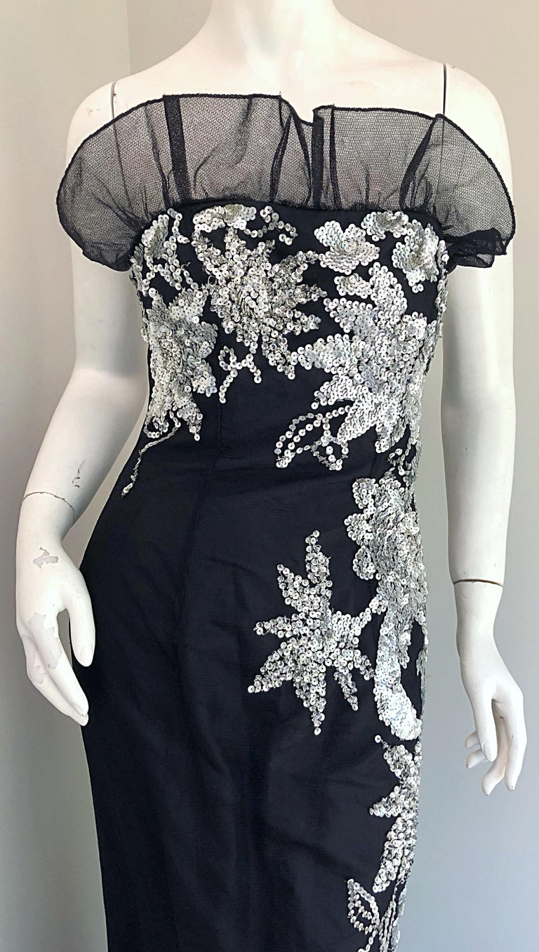 Gorgeous 1990s Black and Silver Sequined Dramatic Strapless Vintage 90s Gown  In Excellent Condition In Chicago, IL