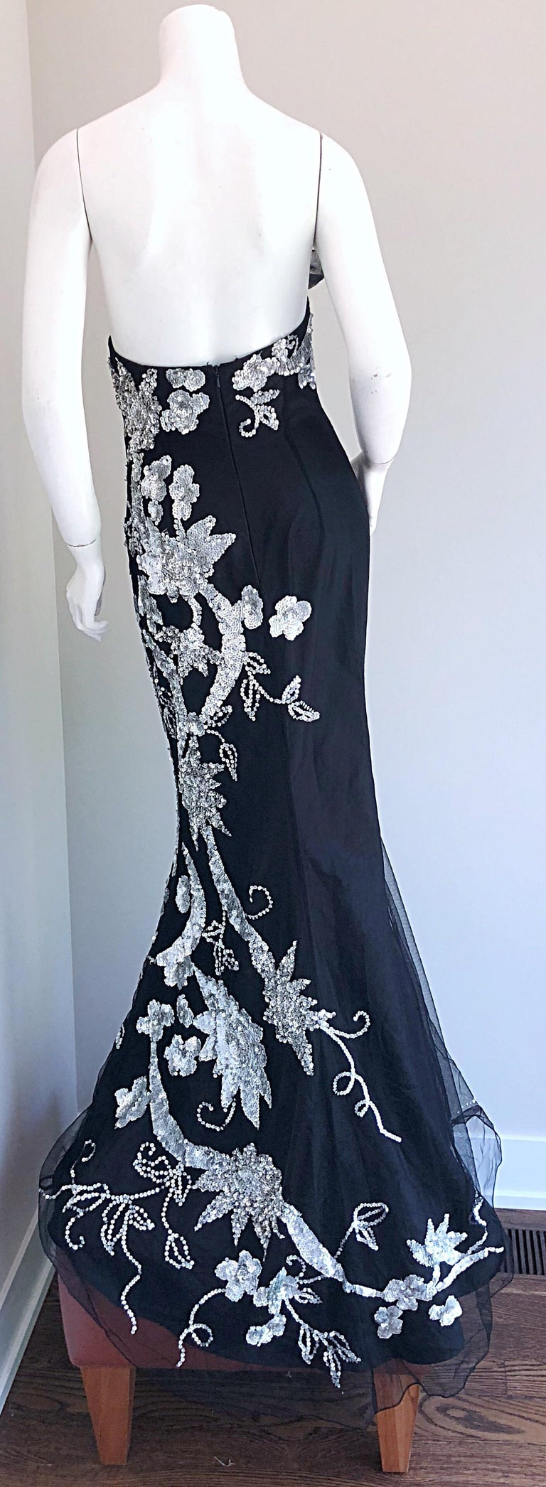 Women's Gorgeous 1990s Black and Silver Sequined Dramatic Strapless Vintage 90s Gown