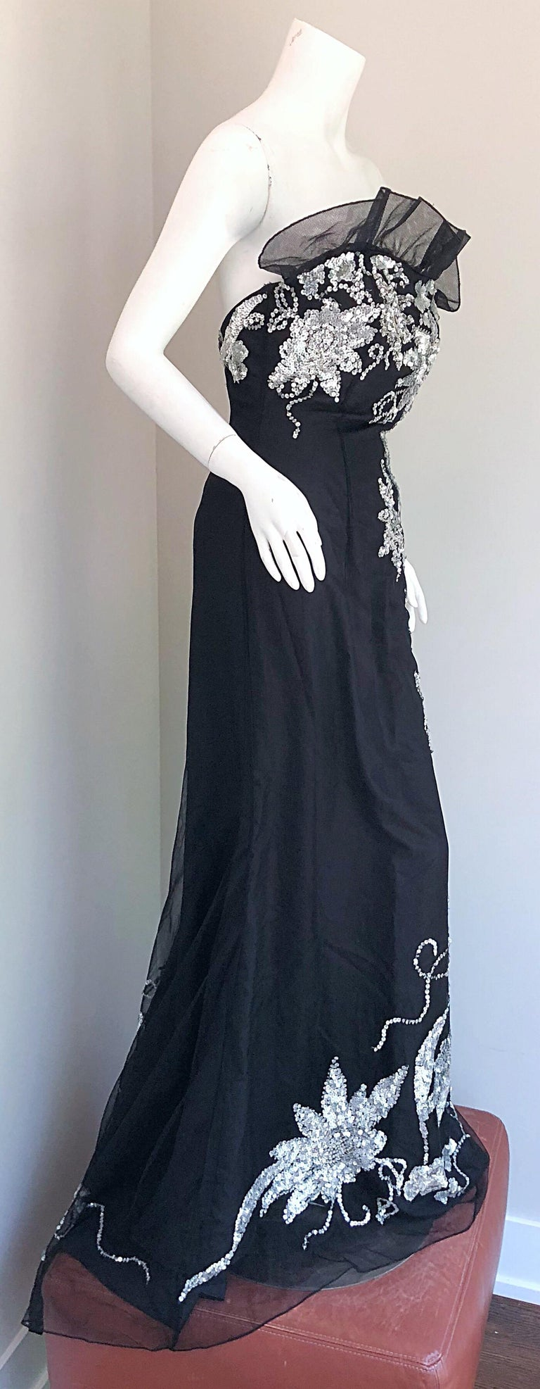 Gorgeous 1990s Black and Silver Sequined Dramatic Strapless Vintage 90s Gown  1