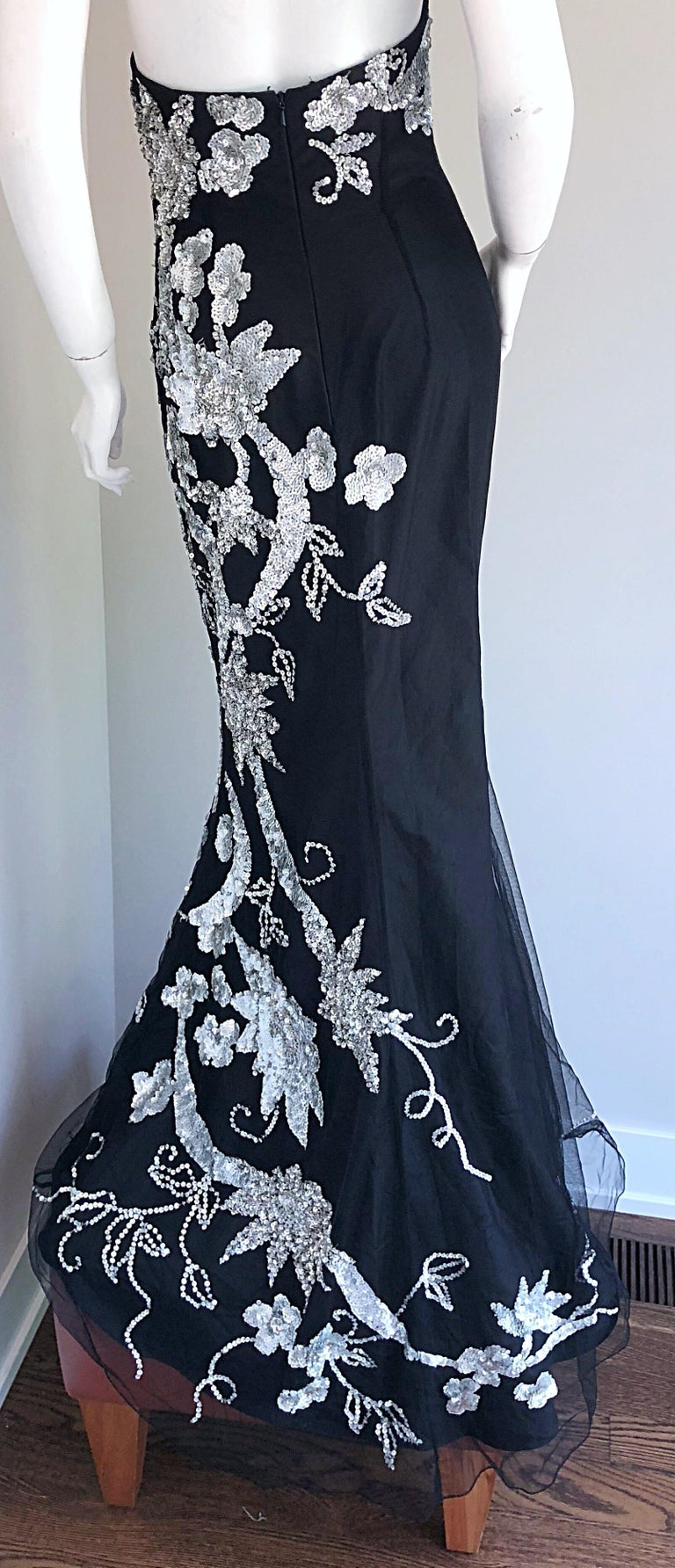 Gorgeous 1990s Black and Silver Sequined Dramatic Strapless Vintage 90s Gown  2