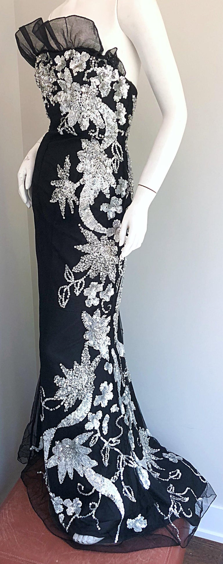Gorgeous 1990s Black and Silver Sequined Dramatic Strapless Vintage 90s Gown  3