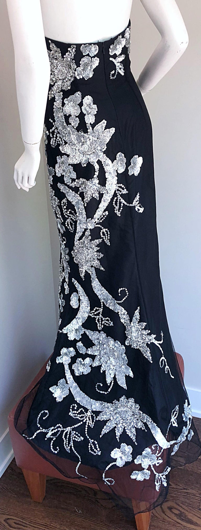 Gorgeous 1990s Black and Silver Sequined Dramatic Strapless Vintage 90s Gown  4