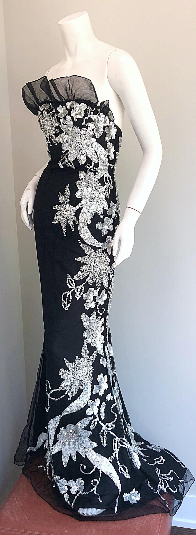 Gorgeous 1990s Black and Silver Sequined Dramatic Strapless Vintage 90s Gown  5