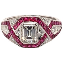 Gorgeous 2.36 Carat Platinum Center Emerald Diamond Ruby Ring
