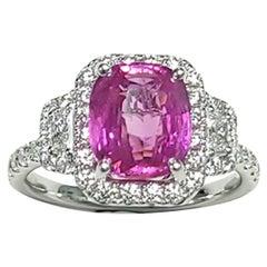 Gorgeous 3, Stone Pink Sapphire Ring w/ White Diamonds