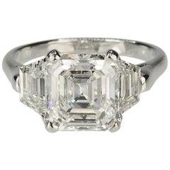 Gorgeous 3.05 Carat Asscher Cut Platinum Diamond Ring