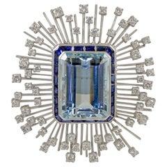 Gorgeous 35.03 Carat Platinum Aquamarine Sapphire Brooch