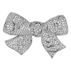 Gorgeous 4.16 Carat Platinum Bow Tie Design All Diamond Brooch