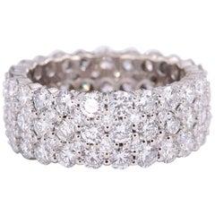Gorgeous 5.50 Carat Five-Row Round Diamond 18 Karat Eternity Band G VS Ring