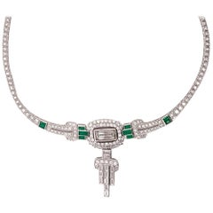 Gorgeous 5.81 Carat Platinum Emerald Diamond Necklace