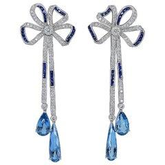 Gorgeous 7.50 Carat Platinum Aquamarine Sapphire Diamond Earrings