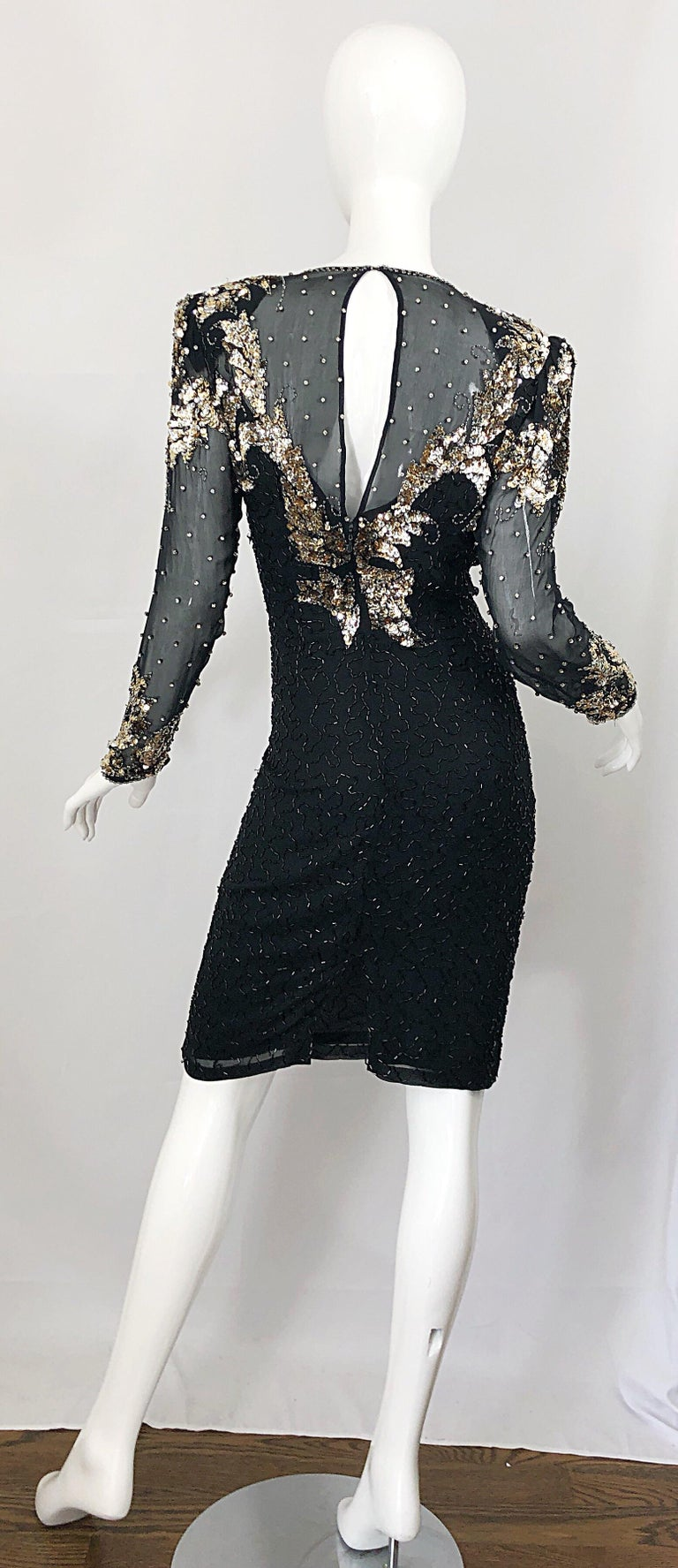 dc69eb2de080 Gorgeous 90s Sz 6 Silk Chiffon Black + Silver + Gold Sequin Beaded Vintage  Dress In