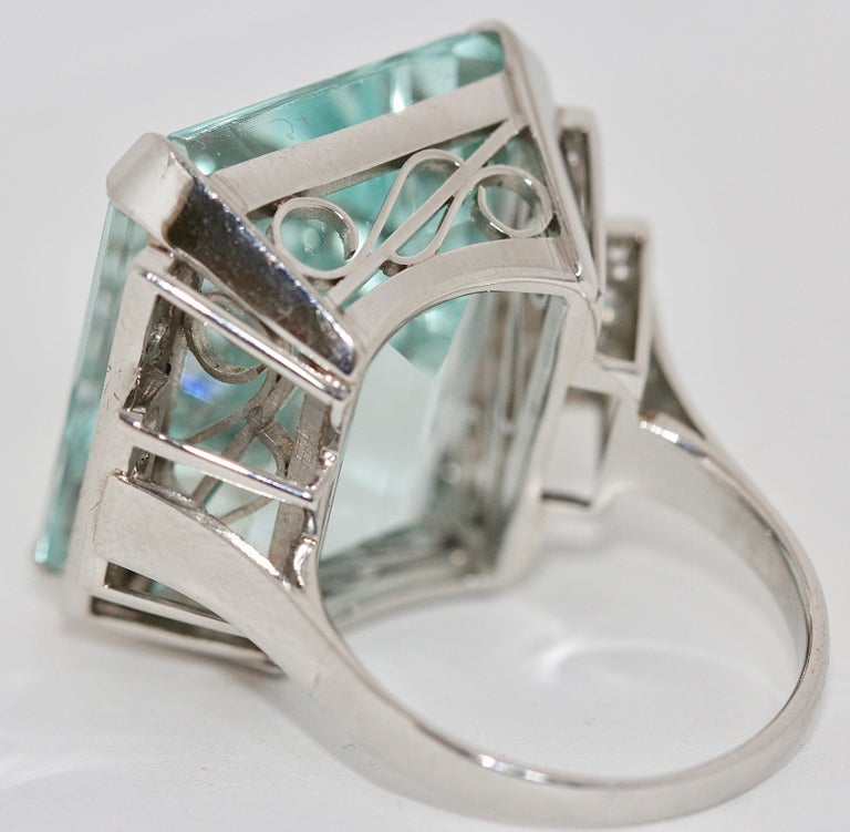 Women's Gorgeous 950 Platinum Ring with Large Faceted Aquamarine and 24 Diamonds For Sale