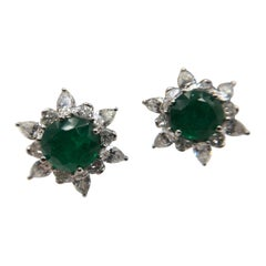 Gorgeous African Emerald and Diamond Clip-On Earrings