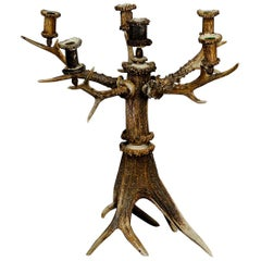 Gorgeous and Rare Cabin Decor Antler Candelabra, 1880