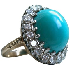 Gorgeous Antique 14 Karat Yellow Gold Diamond and Turquoise Ring, 24.04 Carat