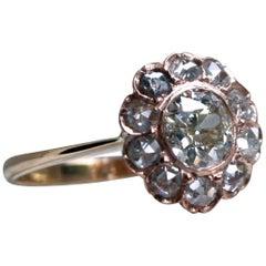 Gorgeous Antique 18 Karat Rose Gold Diamond Cluster Ring, 1.30 Carat
