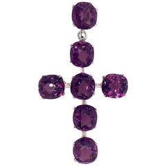 Gorgeous Antique Amethyst Sterling Cross