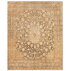 Gorgeous Antique Brown Ardabil Design Persian Tabriz Carpet.
