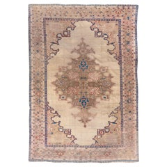 Gorgeous Antique Persian Sultanabad Carpet, Ivory Outer Field, Blue Accents