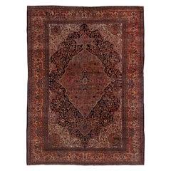Gorgeous Antique Sarouk Farahan Carpet, Pink, Green, Navy and Orange Accents